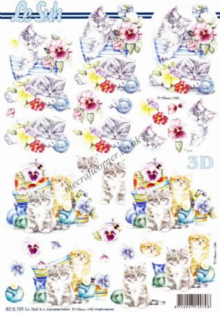 Kittens & Garden Pots of Pansy Flowers 3D Decoupage Sheet From Le Suh